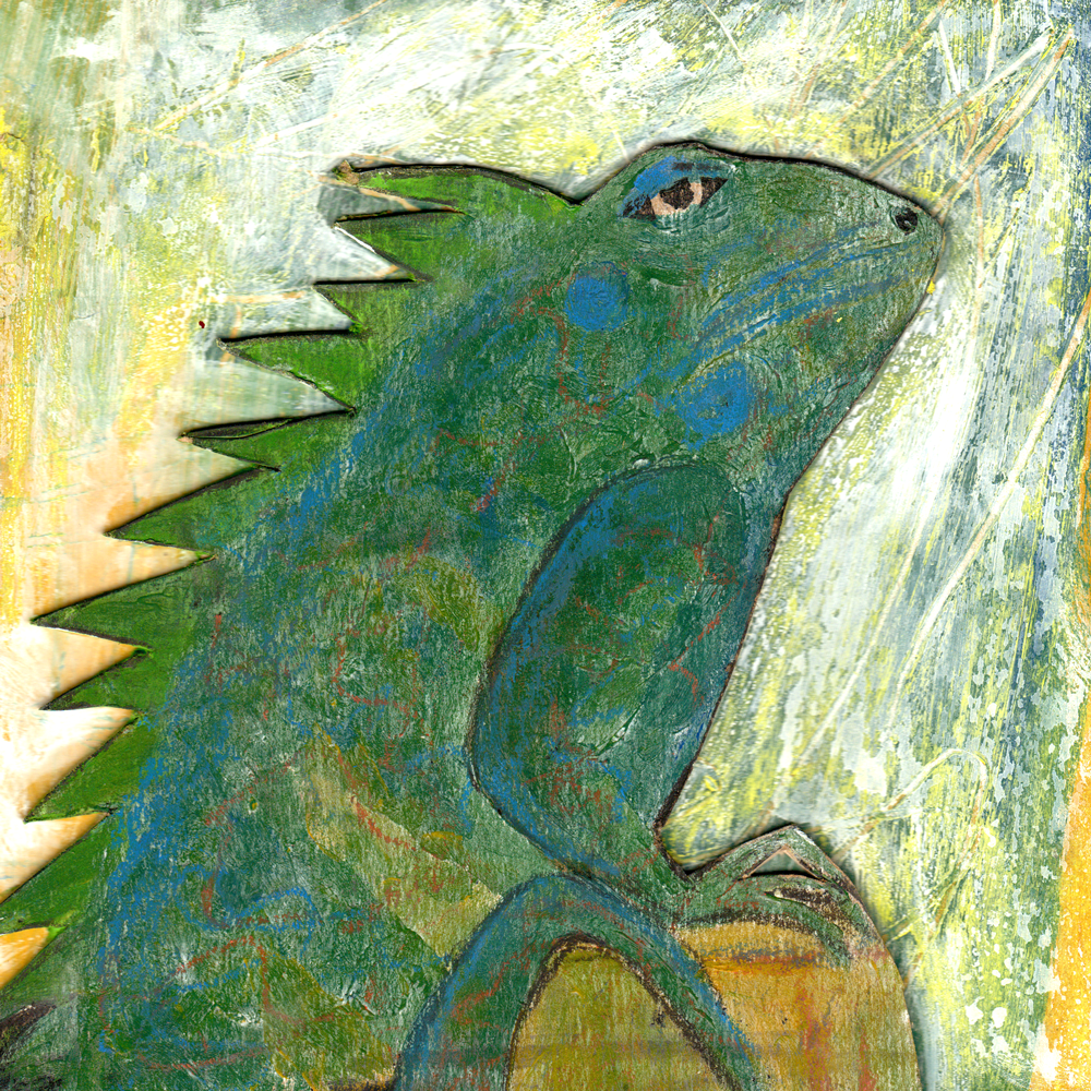 Lézard- collage et pastel